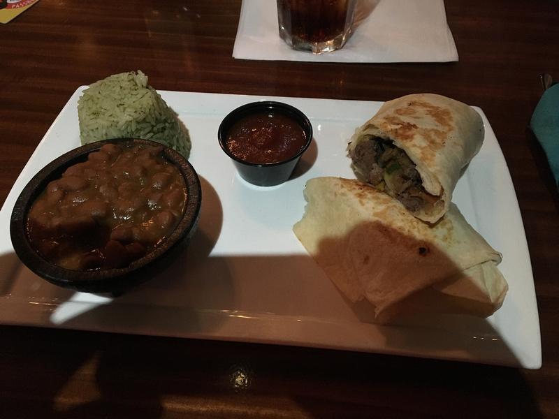 my meal- steak burrito- beans, rice