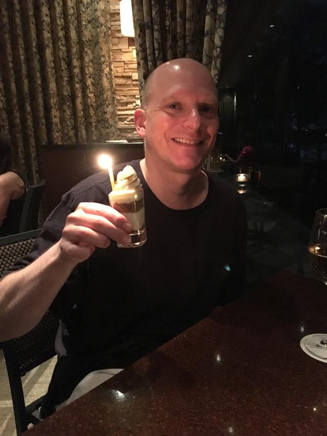 Bryan with his dessert
