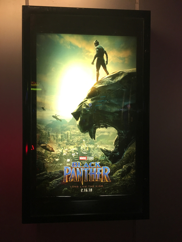 Black Panther movie poster lit up