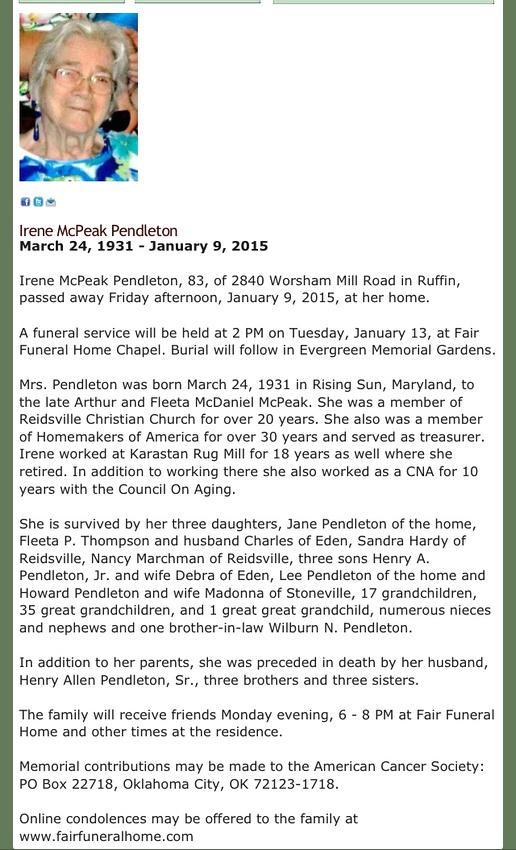 Grandma Pendleton's obituary
